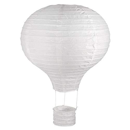 Rayher 87192102 Papierlampion Heißluftballon, 30cm ø40cm, m. Metallgestell, weiß