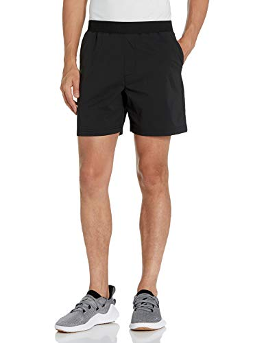 Amazon Brand - Peak Velocity Men's All Terrain 7' Short with Elastic Waistband, Black, Medium