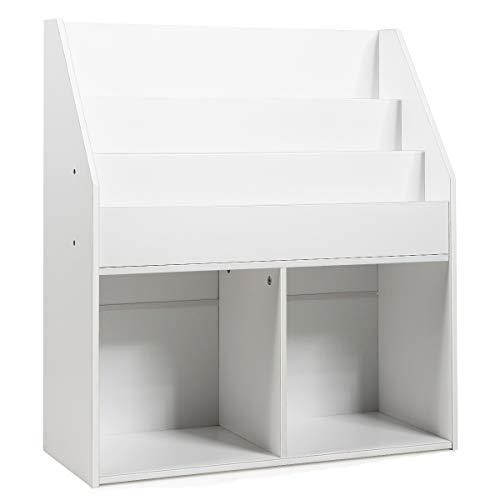GOPLUS Bücherregal für Kinder, Kinderregal mit 3 Ablagen & 2 Fächern, Kinderkommode aus Holz, Aufbewahrungsregal, Zeitungsständer, Freistehend, Klein, für das Kinderzimmer, Weiß