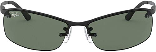 Ray-Ban RB3183 Rectangular Metal Sunglasses, Matte Black/Green, 63 mm