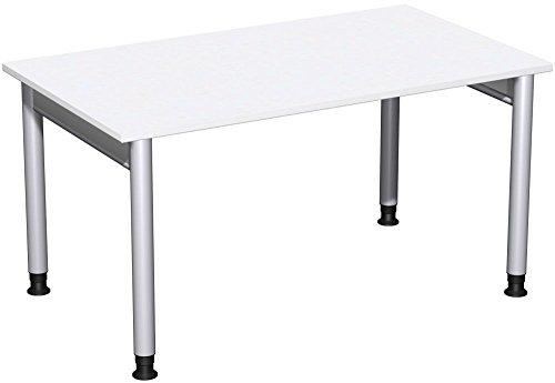 Schreibtisch höhenverstellbar, 1400x800x680-820, Weiß/Silber, Geramöbel