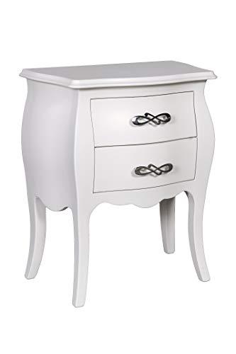 Esidra Comodino Design bombato 2 cassetti, Legno, Bianco, 50 x 60 x 30 cm