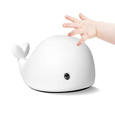 Night Light for Kids and Baby, LED Dolphin Nightlight for Nursery, Rechargeable Tap Besides Lamps, Silicone, 7 Colors, 5 Breathing Modes, Battery Operated or USB Powered, Portable, Soft, Wireless