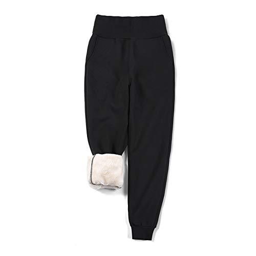 utcoco Women's Winter High Waist Stretch Fuzzy Sherpa Tapered Jogger Sweatpant with Pockets (S, Black)