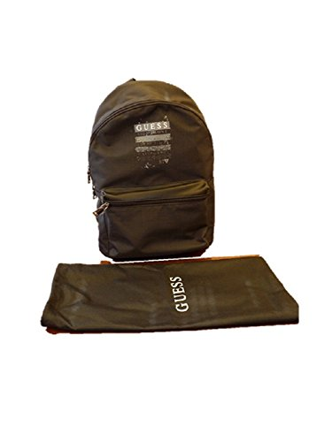 Guess Black Backpack Bag MEN'S DAYBAG GYM FAUX LEATHER Laptop University Medium Authentic