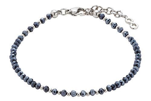 CIAO BY LEONARDO Damen-Armband Ira Mini's, Edelstahl mit dunkelblauen Schliff-Glasperlen und Anhänger, mit Karabinerverschluss, Länge 170 mm, 016920
