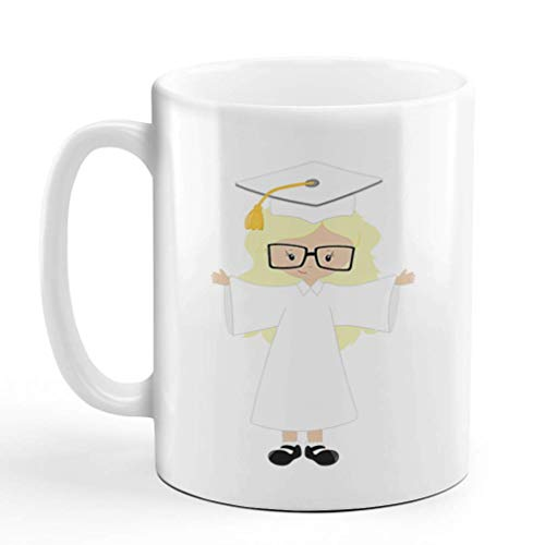 N\A Taza de café 11 onzas Grad Girl Cabello Rubio Gafas Blancas Graduación Escolar Taza de té de cerámica Diseño Solamente