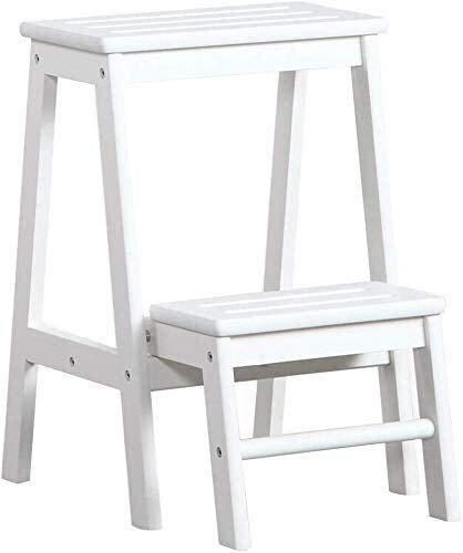 LYQQQQ Silla de Madera Maciza for Adultos escalón de la Escalera Interior de Doble Uso de Tres Pasos Pequeño Paso Escalera Asiento(38X48X55Cm) (Color : White)