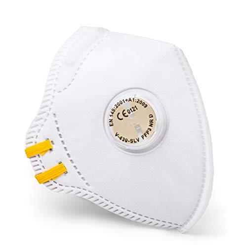 SolidWork 5er Set FFP3 Fold Flat Atemschutzmasken | Masken für Mund- und Nasenschutz | Einzeln verpackte Schutzmasken | Feinstaubmaske, Staubschutzmaske, Staubmaske