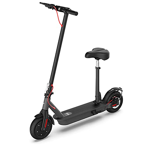 """Hiboy S2 Pro Electric Scooter with Seat - 500W Motor - 10"""" Solid Tires - 25 Miles Long-Range & 19 Mph Folding Commuter Electric Scooter for Adults with Dual Rear Suspension"""