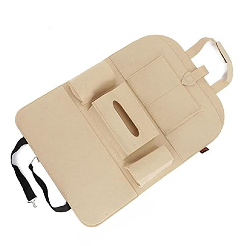ACEACE Car Seat Storage Bag Back Seat Organizer Box Car Seat Back Storage Bag Pad Cups Storage Holder Fabric Anti-kick (Color Name : Beige)