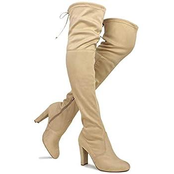 Premier Standard Women s Over The Knee Boot - Sexy Over The Knee Pullon Boot - Trendy Low Block Heel Shoe - Comfortable Easy Heel Boot TPS Amaya-01 v2 Natural Size 8
