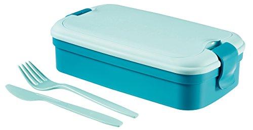 CURVER Lunchbox Lunch & Go inklusiv Besteck 23,5x13,5x6,3cm in blau, Plastik, 23.5 x 13.5 x 6.3 cm
