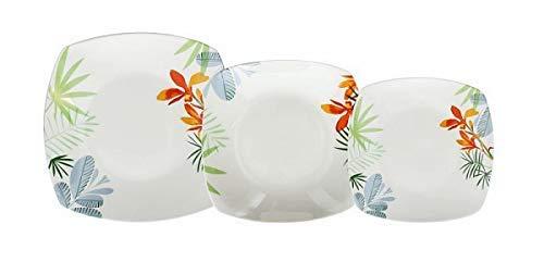 Tognana - Vajilla de 18 piezas Square Ines - Vajilla de platos cuadrados de 6 pisos, 6 fondos y 6 postres de porcelana lavable en el lavavajillas