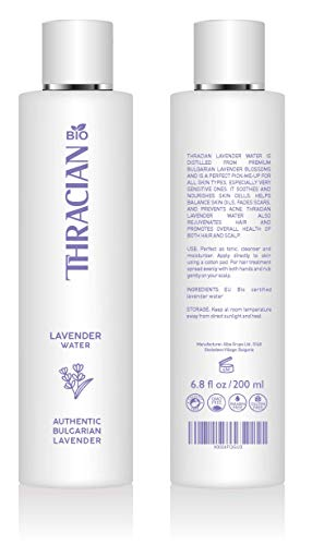 Thracian BIO 100% Pure Bulgarian Lavender Floral Water, Skin and Hair Toner, Anti-Aging, 6.8 fl oz, 200 ml, Distilled in Bulgaria, No Added Fragrance, Vegan, Cruelty-Free, Alcohol Free