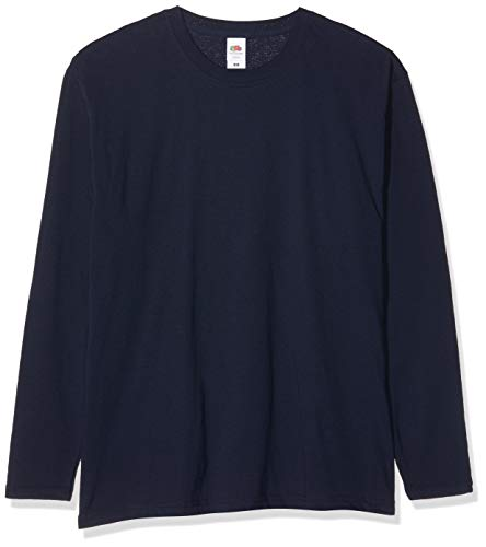 Fruit of the Loom Original Long Sleeved Tee, 5 Pack T-Shirt, Blu (Deep Navy AZ), Medium (Pacco da 5) Uomo