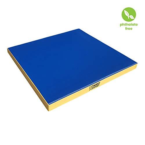 NiroSport Turnmatte 100 x 100 x 8 cm Weichbodenmatte Gymnastikmatte Fitnessmatte Sportmatte Trainingsmatte Bodenmatte Schutzmatte, Made in Germany (Blau/Gelb)
