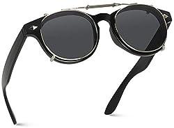 top 10 clip on sunglasses Trendy vintage retro clip on lens sunglasses