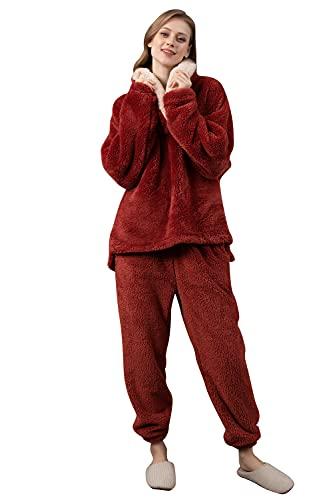 YAOMEI Capucha Pijamas Camisón para Mujer, Franela Calentar Mujer Largo Camisones Parejas Pijamas, lencería Collar de botón con Botones Satén Neglige Lencería Ropa de Dormir (Rojo, L)