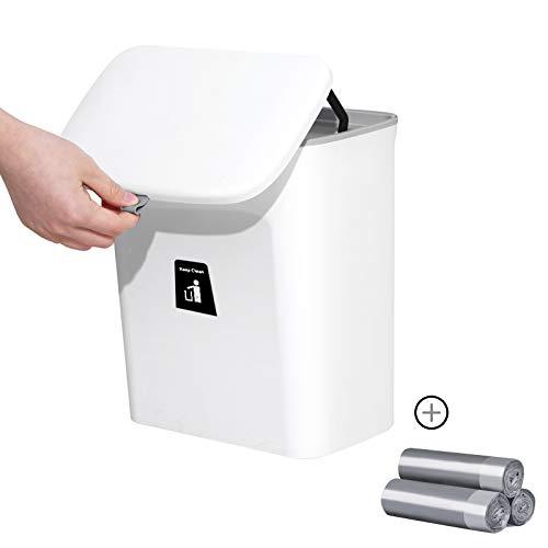 TheDe5k Mülleimer Küche Aufhängbarer, Neue Generation 9L Mülleimer mit Deckel, Abfalleimer Küche Für Schranktür mit 3 Rollen Müllsäcke (Weiß)