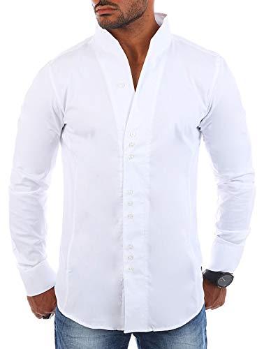 CARISMA Herren Uni Langarm Stehkragen Hemd Slimfit tailliert figurbetont Party Club Look Optik Freizeit Casual einfarbig Basic, Grösse:L, Farbe:Weiß