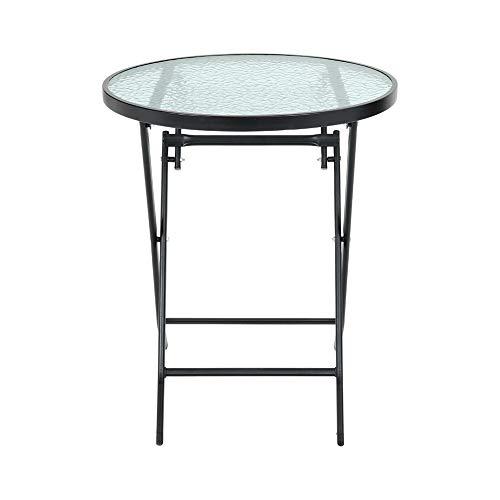 DKIEI Outdoor Garden Round Folding Table Foldable Dining Table Tempered Glass for Garden Patio Balcony Backyard Black, 60 * 60 * 71cm