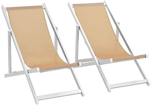 N&O Renovation House Sonnenliege 2pcs Strandliegestühle Gartenliegestuhl Faul Klappbar im Freien Einfacher Massivholzliegestuhl Balkon Haushalt Freizeit Nickerchenstuhl (Color : Brown) Braun