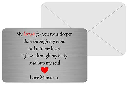 Maggie-mais gepersonaliseerde sentimentele metalen portemonnee kaart Keepsake vriend/vriendin