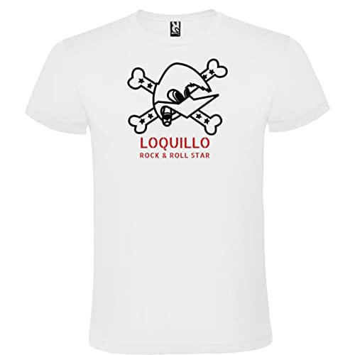 Camiseta con Logotipo de Loquillo para Hombre Blanca 100% Algodón Tallas S M L XL XXL Mangas Cortas (XXL)