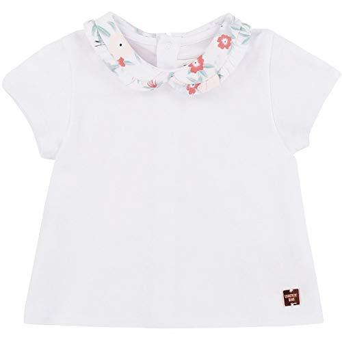 CARREMENT BEAU T-Shirt col Fantaisie à Motif Bebe Couche Blanc 3MOIS