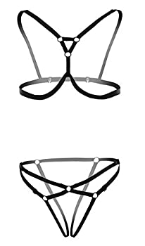 L04BABY Women Harness Elastic Hollow Strappy Cupless Cage Bra Panties Lingerie