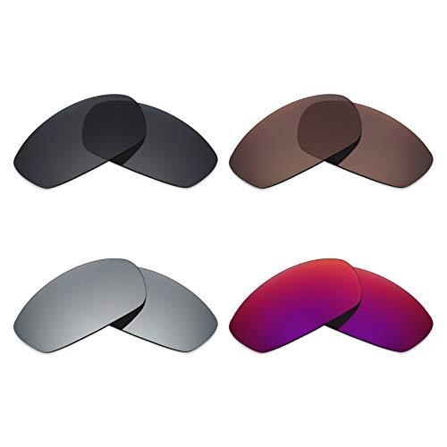 Mryok 4 Paar Gepolariseerde Vervangende Lenzen voor Oakley Blender Zonnebril - Stealth Zwart/Brons Bruin/Zilver Titanium/Midnight Sun