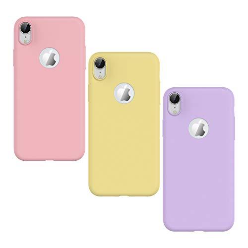 KOTPARX Funda para iPhone XR, Carcasa Silicona Gel Mate Case Ultra Fina Delgado TPU Goma Flexible Bumper Shock Protección Anti-Arañazos Cover [3 Pack] - Rosa, Amarillo, Púrpura