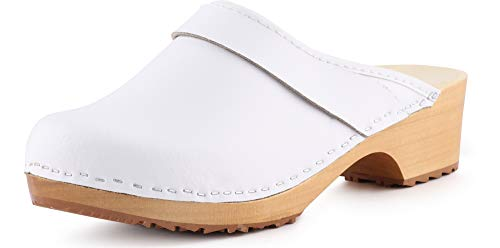 profesional ranking Ladeheid Crocs zapatos de madera sandalias sandalias de playa zapatos verano mujer LAFA037 (blanco-2, 35 EU) elección