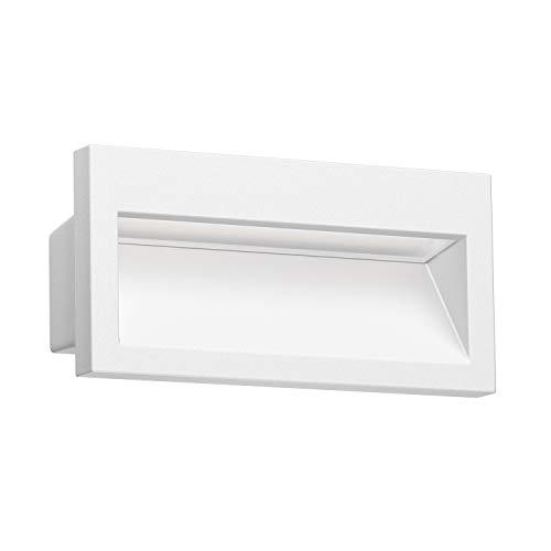 ledscom.de LED lámpara empotrable en la Pared NOLA para el Exterior, Blanca, 140x70mm, Blanca cálida, 3000K, 3W =21W, 200lm
