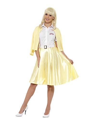 Smiffys-42900M Licenciado Oficialmente Disfraz de Sandy de Grease, Amarillo, con Camisa, Falsa Chaqueta, Falda, cinturó, Color, M-EU Tamaño 40-42 (Smiffy