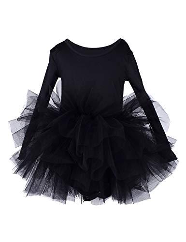 Toddler Girls Ballet Tutu Dress Gymnastics Long Sleeve 4-Layers Tulle Tutu Leotard Black 3-4 Years