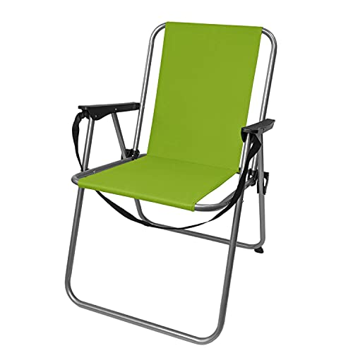 Campingstuhl klappbar inkl. Schultergurt, in verschiedenen Farben, Klappstuhl Faltstuhl Gartenstuhl Balkonstuhl Strandstuhl, Farbe:Grün