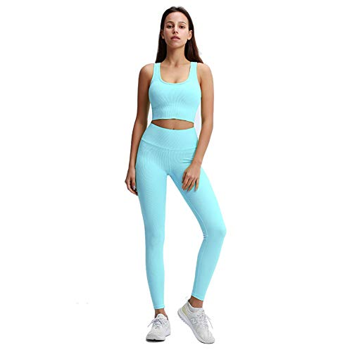 SSRSHDZW Cintura Alta Pantalón de Yoga Mujer, Mallas Fitness Push Up para Deporte Running Yoga Gym Leggings No Transparenta Mallas para Running Fitness Estiramiento Yoga Pilates,Azul,XS