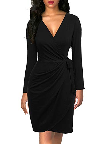 Berydress Women's Black Wrap Dresse…