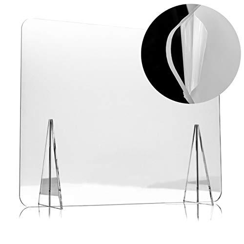 Mampara Protectora de Metacrilato de 80x60cm para Escritorio y Mesa, Transparente, Grosor de 5mm, Mampara de Protección para Oficina, Bar, Cafetería y Restaurante, 80x60cm