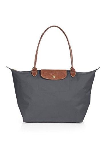 Longchamp Le Pliage große Umhängetasche, Metallisch-grau