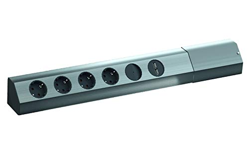 BACHMANN CASIA 4x Schutzkontakt, Schalter, USB-Charger, Edelstahl
