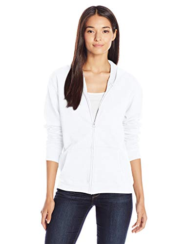 Hanes womens ComfortSoft EcoSmart Women's Full-Zip Hoodie Sweatshirt White x Large