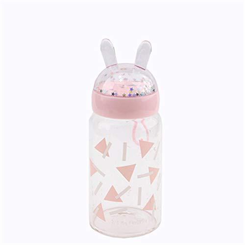Kreative Cartoon Glas Frau tragbare niedliche transparente Milchglas Glas Tasse Kunststoff Wasserflasche mit Deckel