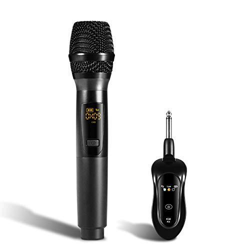 iMeshbean Kabelloses Mikrofon, Dynamisches Mikrofon Funkmikrofon Handmikrofon UHF Metall Mikrofon Set mit Empfänger,Tragbares Mikrofon, Ideal für Karaoke, Konferenz, Rede, Klasse (K18, Schwarz)