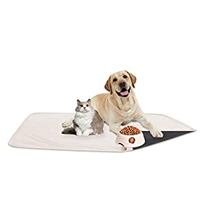 fuguitex Waterproof Dog Bed Cover Sofa Couch Cover for Dog Pad Dog Mat Dog Rug Carpet Washable Resuable Crystal Velvet Puppy Pad for Training (30″ 70″,Cream+Grey)