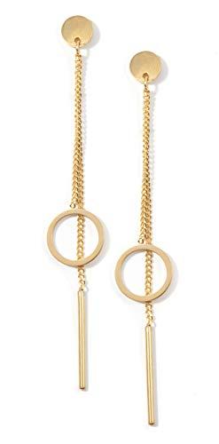 Happiness Boutique Damen Kreis Ohrringe in Goldfarbe | Filigrane Ohrringe mit Stab und Kreis Edelstahlschmuck