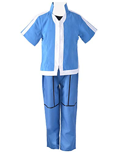miccostumes Boy's Trainer Ash Cosplay Costume (Large, Blue)