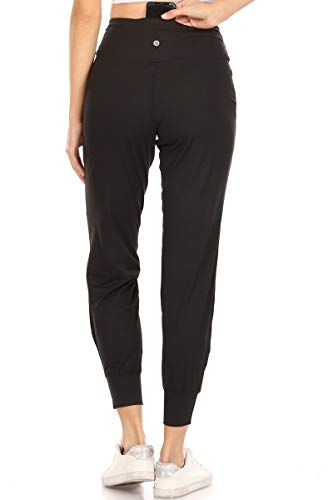 Leggings Depot JYL19-BLACK-S ActiveFlex Slim-fit Joggers with Pockets, Small